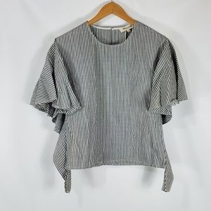 Madewell Butterdly Sleeve Cotton Pinstrip Top